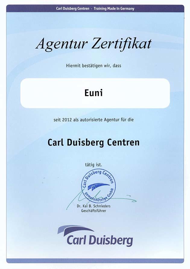 Сертификат Carl Duisberg