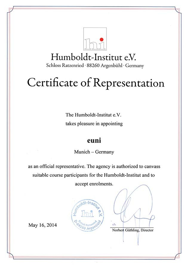 Сертификат Humboldt-Institut